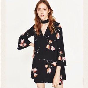 Zara Black Floral Tulip Choker Dress